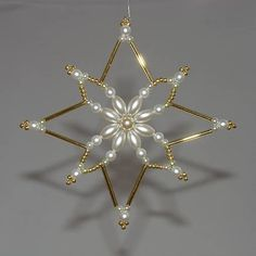 Star of Bethlehem - Large Beaded Christmas Decorations, Beaded Christmas Ornaments, Snowflake Ornaments, Christmas Jewelry, Handmade Christmas, Christmas Crafts, Diy Ornaments, Christmas Star, Beaded Ornament Covers