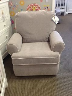 Tryp Swivel Recliner in Gravel with White Piping -  Retail $689 - Sale $589 @ Foothill