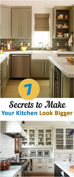 Kitchen Remodeling Project 7 Secrets to Make Your Kitchen Look Bigger . I actually like this before better. - 7 Secrets to Make Your Kitchen Look Bigger Kitchen Redo, Kitchen Dining, Kitchen Cabinets, Glass Cabinets, Tall Cabinets, Space Kitchen, Kitchen Drawers, Cupboards, Kitchen Towels