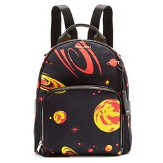 Miu Miu Planet-print canvas backpack ($1,290) ❤ liked on Polyvore featuring bags, backpacks, black multi, canvas rucksack, canvas knapsack, sports bag, canvas daypack and canvas backpack