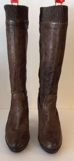 Frye Mimi Scrunch Antique Pull Up Riding Leather Knee High Boots Sz 9.5 | eBay
