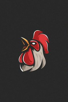 chicken head athletic club vector logo concept isolated on dark background. Premium quality bird emblem t-shirt tee print illustration. Team Logo Design, Mascot Design, Badge Design, Logo Design Services, Rooster Logo, Rooster Art, Rooster Vector, Logo D'art, Arte Do Galo