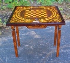 SPLENDID French style marquetry game center table Antique Armoire, Marquetry, Center Table, Small Tables, French Style, Outdoor Furniture, Outdoor Decor, Table And Chairs, Antiques