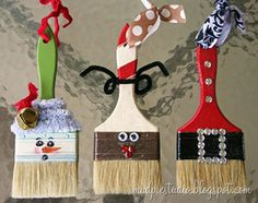 Christmas Crafts: These adorable paint brush ornaments are the perfect gift for friends that love to paint.