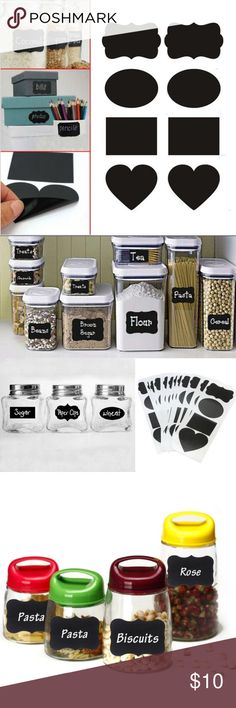 Chalkboard stickers 36pcs Vinyl Chalkboard Label Stickers,Blackboard ChalkBoard Stickers Jar Labels kitchen Organizing Chalkboard Stickers Decor  (Color: Black) Other