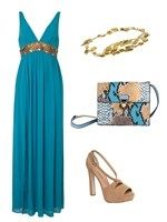Look para invitada a bodas de 2015 con vestido largo azul