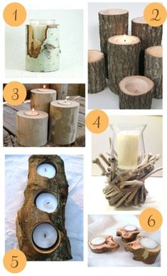 wooden candle holders in different sizes, shapes and covers.