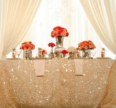 sequin tablecloth for sweetheart table