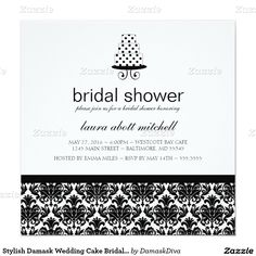 Stylish Damask Wedding Cake Bridal Shower 5.25x5.25 Square Paper Invitation Card