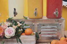 Drink juice station, Framebridge, Garden roses, citrus decor, girl first birthday party, baby shower, floral arrangements, peonies and roses, orange themed party, citrus theme party, lemonade stand, orange juice stand