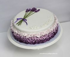 With Lavender - cake by Jana Birthday Cake For Women Elegant, Elegant Birthday Cakes, Birthday Cakes For Women, Elegant Cakes, Easy Cake Decorating, Cake Decorating Techniques, Buttercream Birthday Cake, Cake Design Inspiration, Lavender Cake