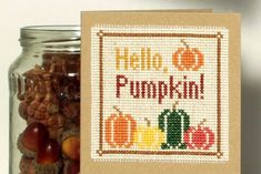 Stitch some spooktacular pumpkin cross stitch cards with this free pattern by Jenny Van De Wiele 🎃 Cross Stitch Cards, Cross Stitch Kits, Cross Stitch Designs, Cross Stitching, Cross Stitch Patterns, One Design, Pattern Design, Free Pattern, Autumn Feeling