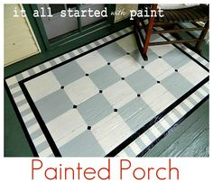 ideas for painted porch floors along with an article ab… Linda's painted rug; ideas for painted porch floors along with an article about which colors match which architectural style and how to choose appropriate patterns. Painted Porch Floors, Porch Paint, Porch Flooring, Painted Rug, Painted Furniture, Painted Floor Cloths, Painted Decks, Painted Linoleum, Cabin Furniture