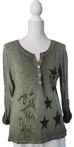 D&F Impressionen Pulli Sterne Schrift khaki grün batik Pullover Shirt 36 38 40