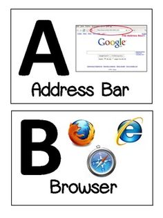 Computer Alphabet: This file contains alphabet cards (A-Z) with computer related words. It looks great hanging in the front of a computer lab! Great way for students to learn computer terms. Elementary Computer Lab, Computer Lab Lessons, Computer Literacy, Computer Teacher, Teaching Computers, School Computers, Computer Class, Technology Lessons, Teaching Technology