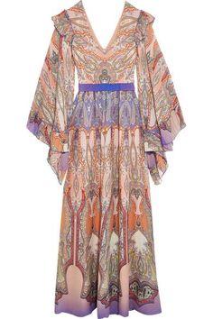 Etro - Ruffled Printed Silk-georgette Gown - Blush - IT48