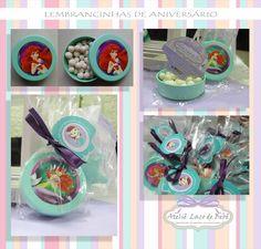 LEMBRANCINHA DE ANIVERSÁRIO  Latinha colorida com balinhas no tema Sereia Ariel com um lindo Tag personalizado para a festinha da nossa clientinha mais que especial. Uma fofura!!!