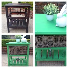 Before and after Annie Sloan Antibes green, just stunning. Rhubarb Marmalade, Antibes Green, Annie Sloan, Outdoor Furniture, Outdoor Decor, Trouser, Chalk Paint, Painting, Design
