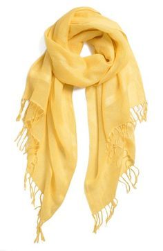 $29, Yellow Scarf: Halogen Linen Blend Scarf Yellow Primrose One Size One Size. Sold by Nordstrom. Click for more info: https://lookastic.com/women/shop_items/85656/redirect