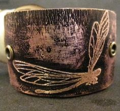 dragonfly cuff womens bracelet jewelry recycled leather. $31.50, via Etsy.