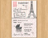 Passport to Paris Baby Shower Invitation - Custom Printable