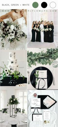 36 Black, Green and White Wedding Color Ideas for Spring I think that for a spring wedding, green, white and black would be absolutely gorgeous! Green is truly mother nature's favorite color, so it goes with pretty Black And White Wedding Theme, White Wedding Flowers, Green Wedding, Wedding Day, Black White Weddings, Black Wedding Decor, Wedding Table, Future Mrs, Spring Wedding Colors