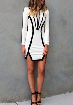 White Geometric Hollow-out Irregular Long Sleeve Dress - Mini Dresses - Dresses