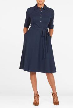I <3 this Sash tie belt cotton knit shirtdress from eShakti