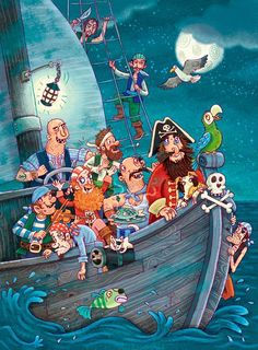 Don't you just love these pirates? Writing Pictures, Picture Writing Prompts, Writing A Book, Pirate Theme, Pirate Party, Hidden Pictures, Cute Pictures, Cartoon Art Styles, Illustration Art
