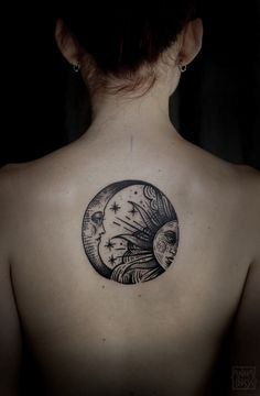Crescent moon and sun middle back tattoo /// #Tattoos #Inked