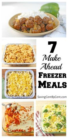 Make Ahead Freezer Meals These 7 freezer meals are easy freezer meals to make and save you time when you need dinner on a busy day.These 7 freezer meals are easy freezer meals to make and save you time when you need dinner on a busy day. Plan Ahead Meals, Make Ahead Freezer Meals, Quick Meals, Freezer Cooking, Freezer Recipes, Make Ahead Casseroles, Freezer Dinner, Crockpot Freezer Meals, Meals You Can Freeze