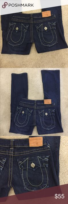 """🌷True Religion classic Joey darkwash boot jeans! 🌷True Religion stretchy classic Joey darkwash boot jeans! Lovely darkwash classic twisted leg Joey. These are just lovely. Preloved in excellent condition. Waist lying flat is 14.5"""". Rise is 8"""". Inseam is 33"""". Outseam is 41"""". Boot is 9.5"""". True Religion Jeans Boot Cut"""