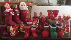 VINTAGE CHRISTMAS PIXIES PAPER MACHE BOOTS HARD PLASTIC CANDY CONTAINER 30 PCS+ | #1835718136