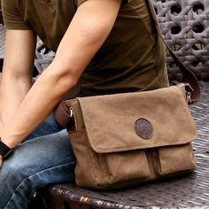Vintage Military Button Bag Men's Canvas Shoulder Bag Messenger School Leather | eBay