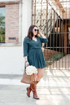 fall bucket list 2017 || casual green dress and brown boots || fall outfit