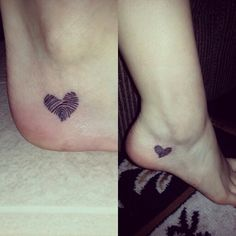 Finger print tattoo in the shape of a heart! ♥