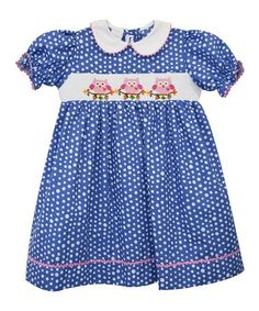 Look what I found on #zulily! Blue Polka Dot Owl Smocked Dress - Infant, Toddler & Girls #zulilyfinds