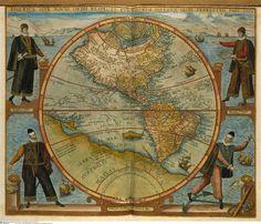 "Map of America.  1566.   Engraved by Johann Theodor de Bry.   with representations of Christopher Columbus, Amerigo Vespucci, Ferdinand Magellan and Francisco Pissarro.  In. Americae ""Vol VI"""