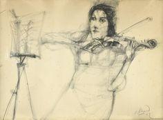 """ALONSO, Carlos Argentino 1929- """"VIOLINISTA"""" Dibujo lápiz. Firmado C. ALONSO y fechado """"62"""" abajo a la derecha. Titulado, firmado y fechado en el reverso. Medidas: 49 x 67,5 cm"""