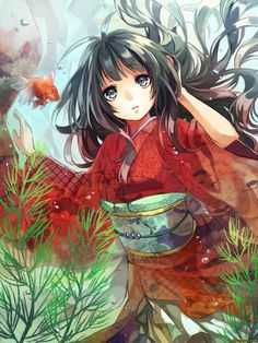 anime girl in silk yukata | anime,art,beautiful pictures,girl,kimono,underwater,fish | Japanese anime and manga