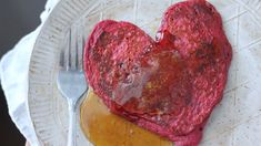 This red velvet pancakes recipe is colored with beets - perfect for Valentine\'s Day breakfast. Get the pancakes recipe at PBS Food.