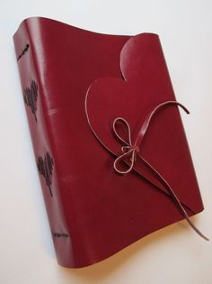6x7.5 Leather Journal / Notebook - Ruby Red - heart
