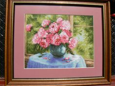 Blossomed Window - Hand embroidered gobelin-tapestry. Dimensions are: 15X20cm (6x7.8 in), a total of 31 colors were used