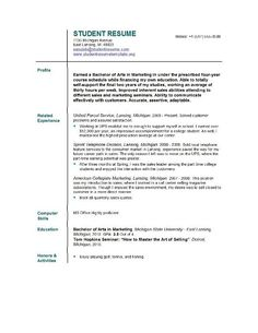 Sample Student Resume  Facs  Careers    Student