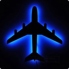 Airplane Wall Light Bright Blue LED Lamp Aircraft by LuxChroma