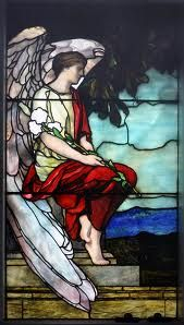 Stained Glass Angel with Flower Interior View (painting) by Sally Rockefeller