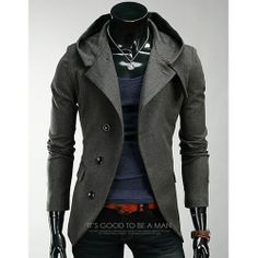 Casual Men's Style 2014 | Details about 2014 Sexy Mens Hood Coat Jacket Casual Suit Blazer Slim ...