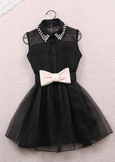 highlight with the beadings on the turn down collar and the belts on, make this dress is so cute and fashion. Short length will make you looks sexy and hot.