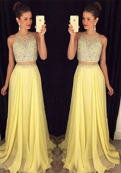 2016 Sexy Peach Prom Dress, Beading Prom Dress,2016 Prom Dress, Two Pieces Prom Dress, Long Evening Gown, Prom Dresses for Teens, Sexy Evening Gowns