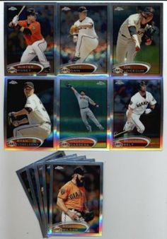 2012 Topps Chrome San Francisco Giants Team Set -11 Cards including Brian Wilson,Tim Lincecum, Buster Posey, Matt Cain, Ryan Vogelsong, Melky Cabrera, Brandon Belt, Brett Pill Rookie, Eric Surkamp Rookie, & more by 2012 Topps Chrome. $17.95. Set Comes In Protective Storage Box to ensure the MINT condition of the cards!. Complete Topps Chrome Team Set Of This Popular Team!!. Cards are in MINT Condition. Look for thousands of other great sportscards of your favorite player or te...